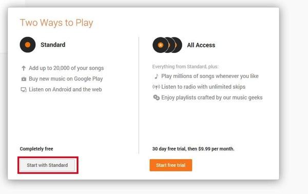 GooglePlayMusicの利用登録画面