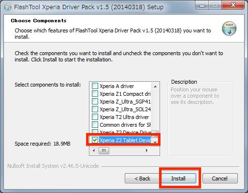 ドライバーを選択したら Install をクリック