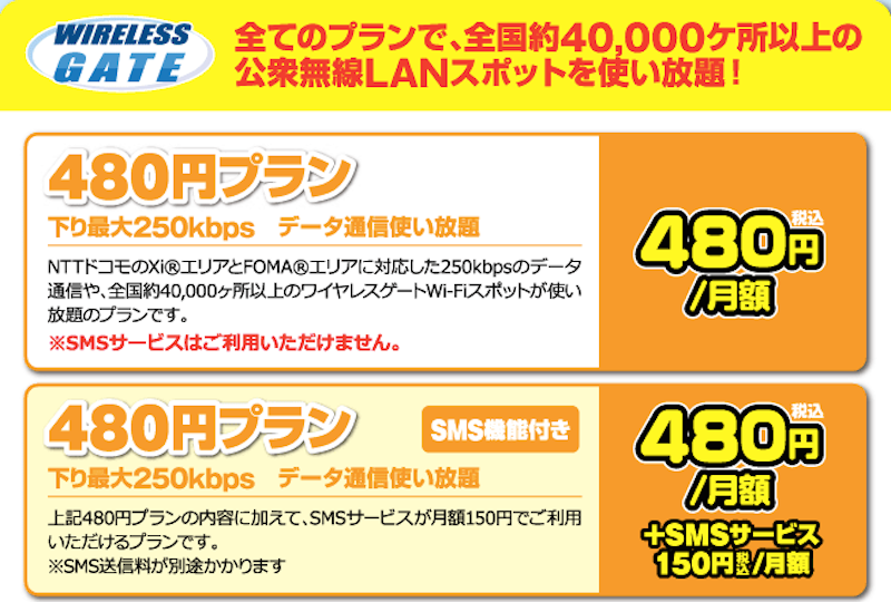 WIRELESS GATE Wifi+LTE 480円プラン