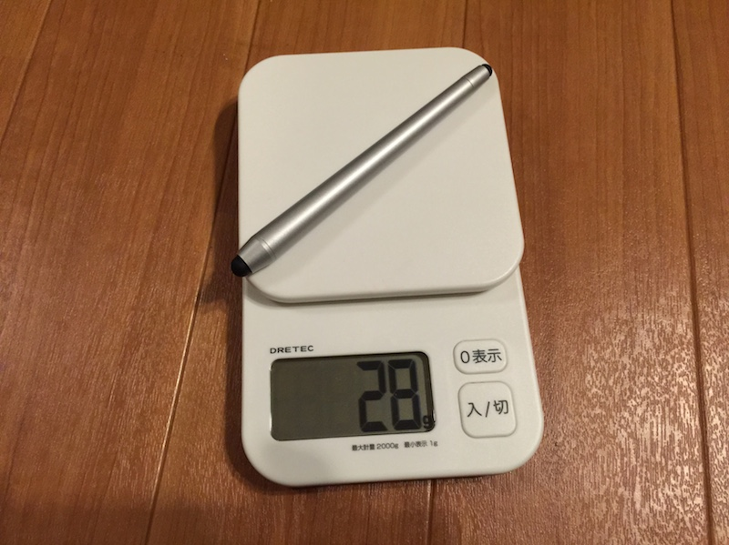 ナカバヤシスタイラスペンの重さ