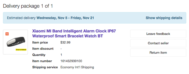 ebayでMiBandを購入した