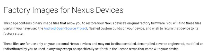 Factory Images for Nexus Devices