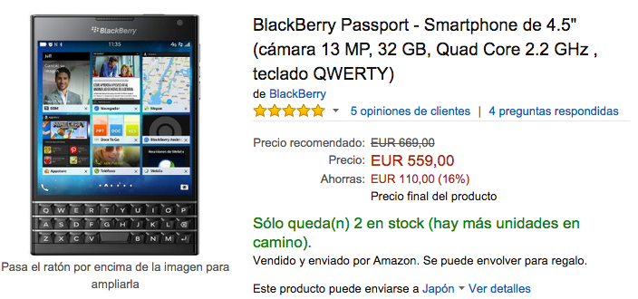 Amazon.esでのBlackBerry Passportの販売価格