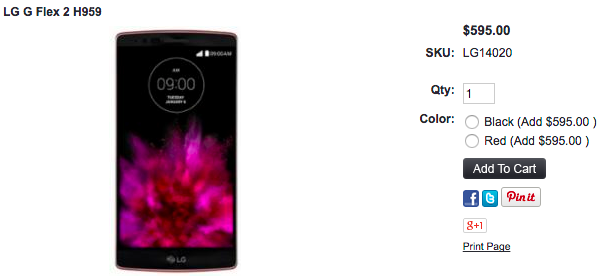 LG G Flex 2の1ShopMobileでの販売価格