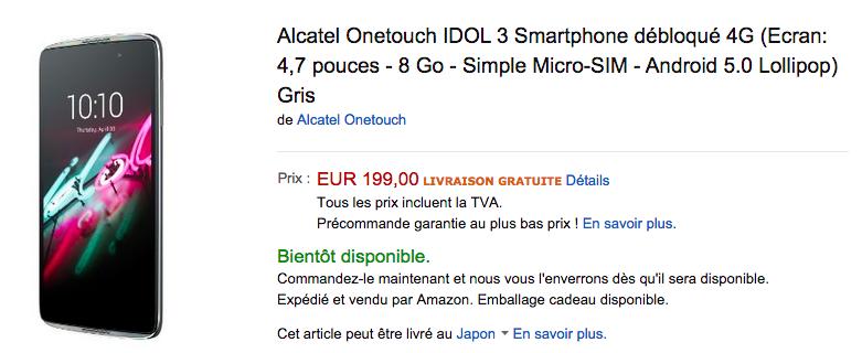 idol 3がAmazon.frで予約受付中