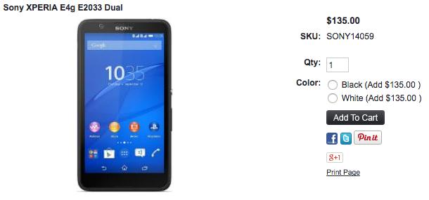 Xperia E4g Dual(E2033)が1ShopMobile.comで取扱い開始