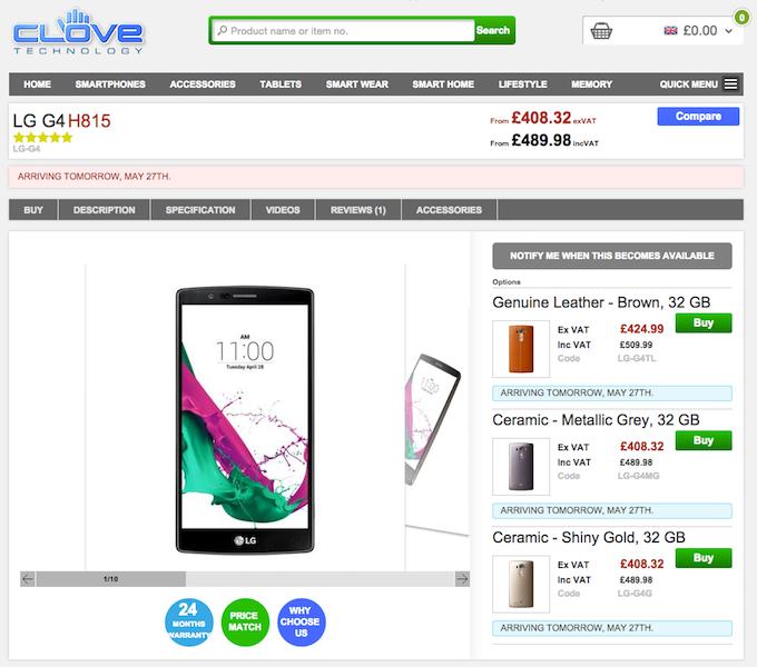 英CloveでLG G4が発売間近