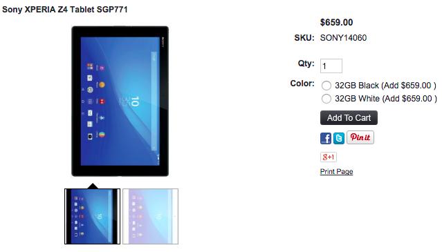 1ShopMobile.comでXperia Z4 Tabletが値下げ