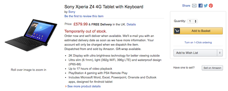 Amazon.co.ukでXperia Z4 Tabletの取扱いが開始
