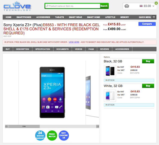 CloveでXperia Z3+が販売開始