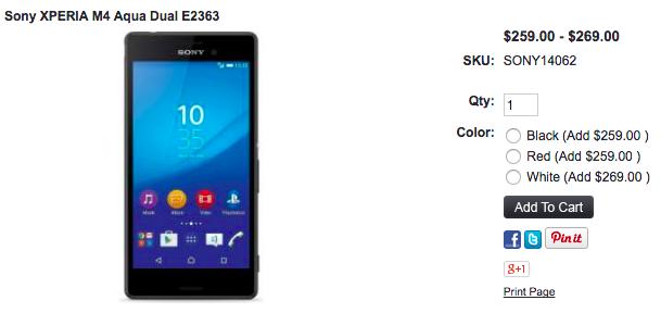 1ShopMobile.comでXperia M4 Aqua Dualが値下げ