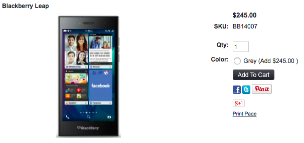 1ShopMobile.comでBlackBerry Leapの取扱いが開始
