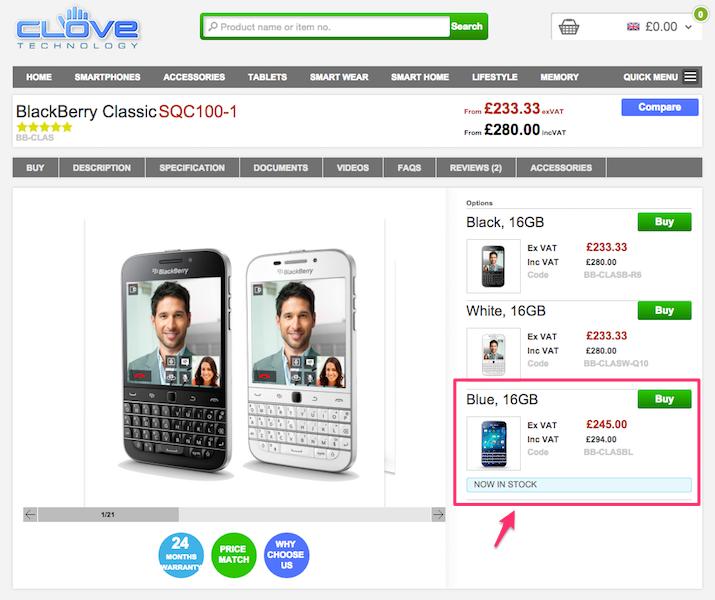 CloveにBlackBerry ClassicのBlueモデルが入荷
