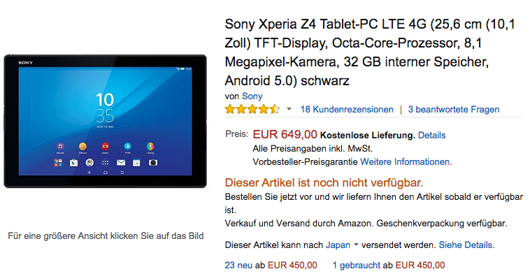 Amazon.deでXperia Z4 Tablet SGP771が入荷待ちに