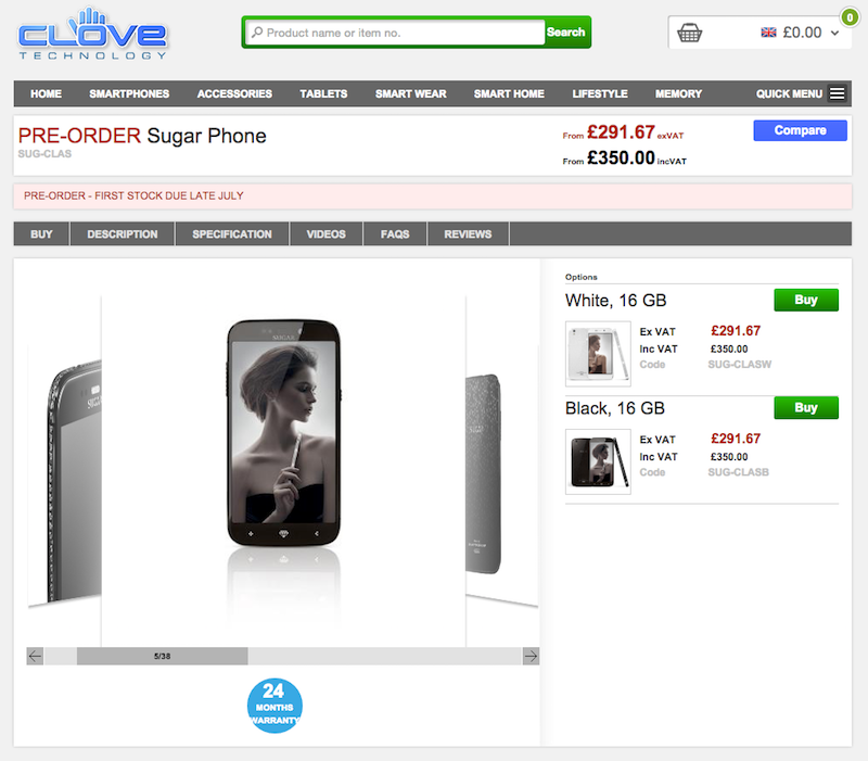 CloveがSugar Phoneの予約を受付中
