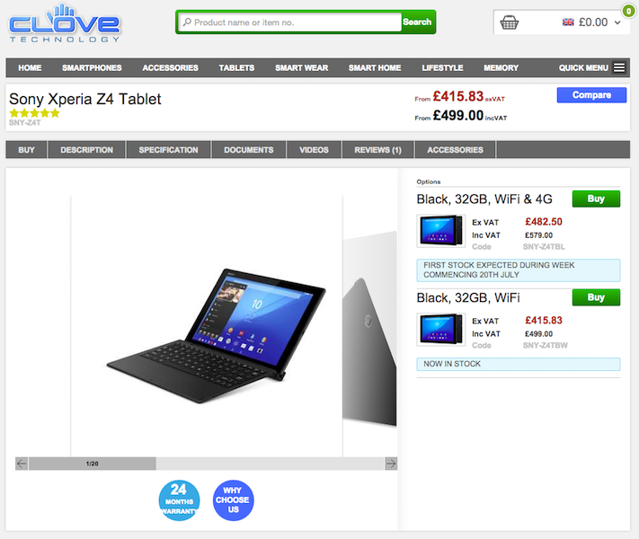 CloveにXperia Z4 Tablet SGP712が入荷