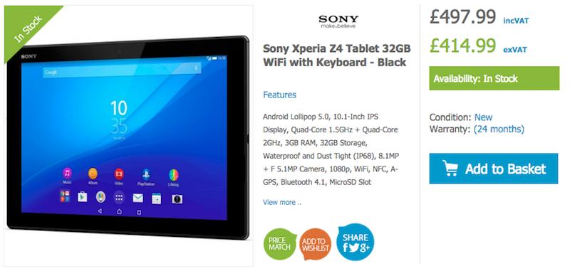 HandtecにXperia Z4 Tablet SGP712が入荷