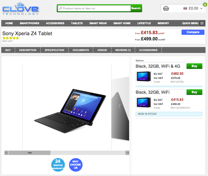 CloveにXperia Z4 Tablet SGP771が入荷
