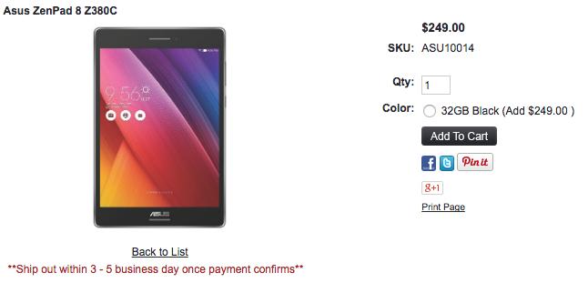 ASUS ZenPad 8.0 Z380Cの取扱いを1ShopMobile.comが開始