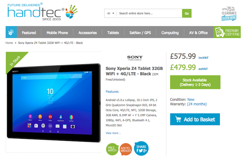 HandtecにXperia Z4 Tablet SGP771が入荷