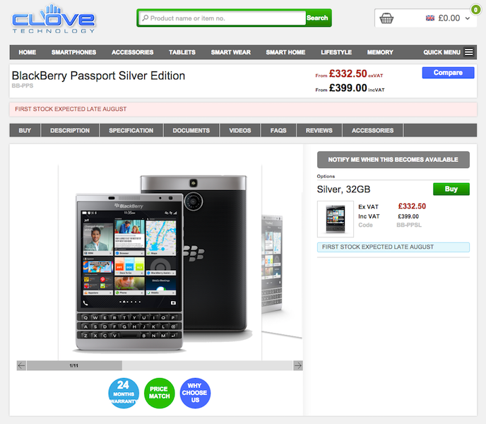 CloveでBlackBerry Passport Silver Editionの予約受付が開始