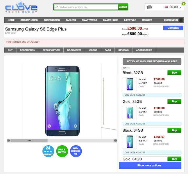 CloveがGalaxy S6 edge+の予約受付を開始