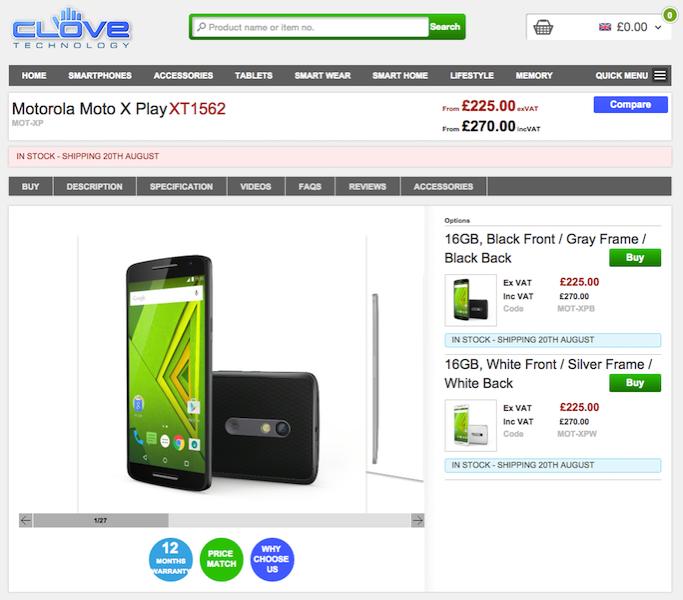 Moto X PlayがCloveに入荷