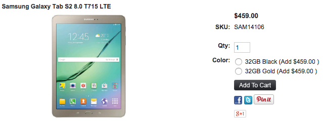 Galaxy Tab S2 8.0 SM-T715 が1ShopMobile.comに入荷
