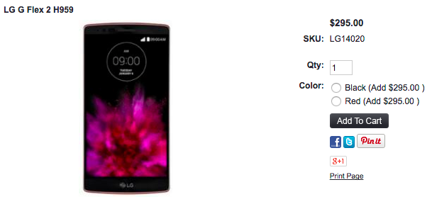 LG G Flex 2が1ShopMobile.comで値下げ