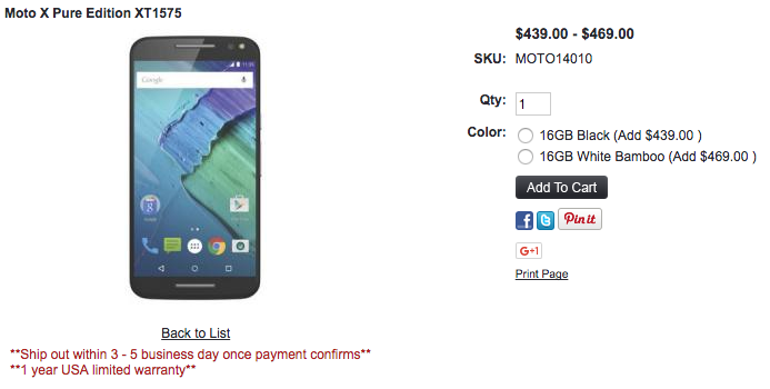 1ShopMobile.comがMoto X Pure Editionの販売を開始
