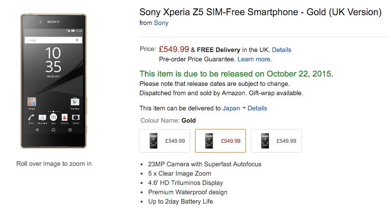 英AmazonでXperia Z5シリーズの入荷予定日が変更