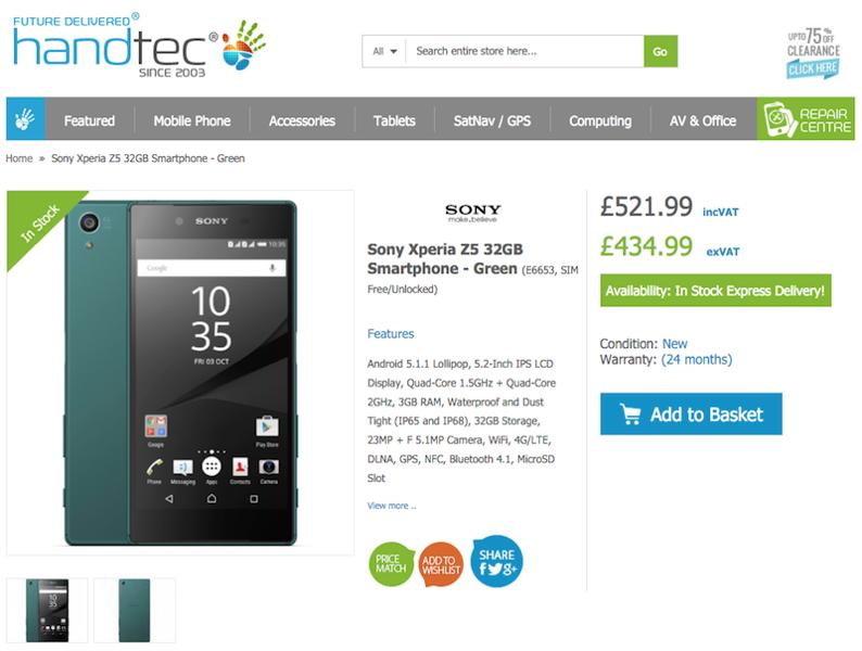 Xperia Z5の販売がHandtecでスタート