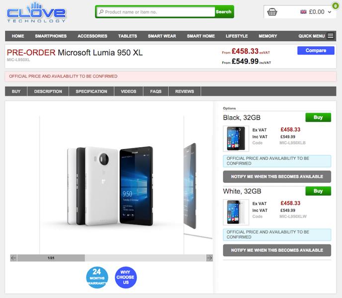 CloveでLumia 950/Lumia 950 XLの予約受付がスタート