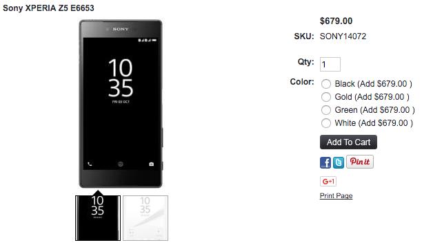 Xperia Z5が1ShopMobile.comで販売開始