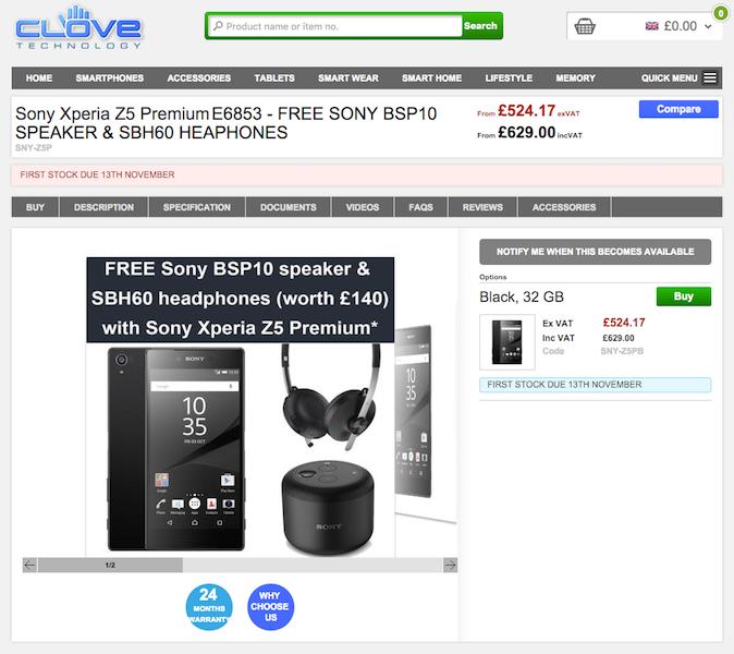 CloveへのXperia Z5 Premiumの入荷予定は11月13日