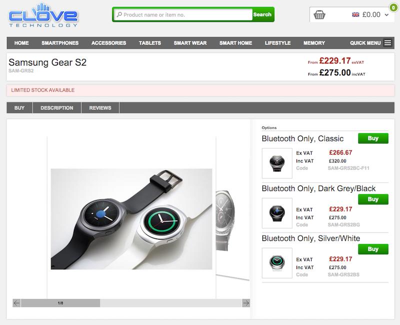 CloveでGalaxy Gear S2の販売がスタート