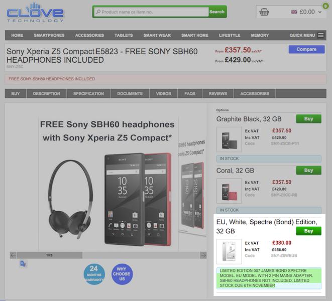 Xperia Z5 Compact Spectre Editionの購入予約受付がCloveで実施中