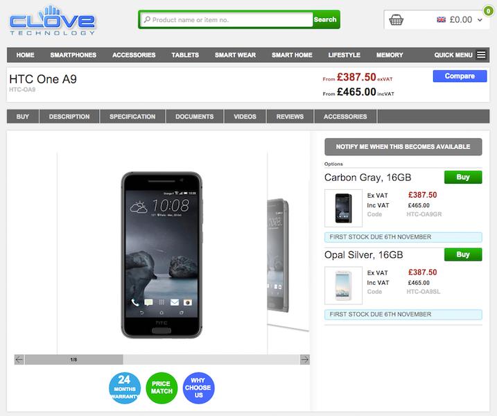 HTC One A9の購入予約受付がCloveでスタート