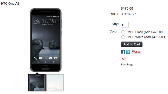 HTC One A9が1ShopMobile.comで取り扱い開始