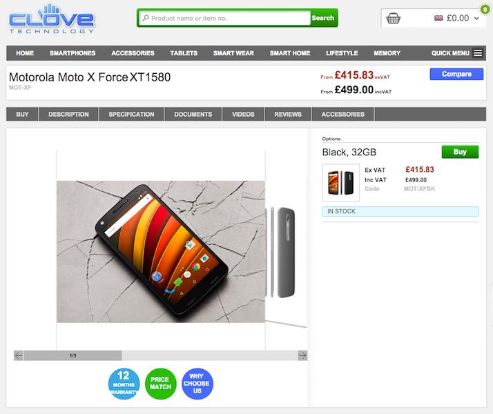 Moto X ForceがCloveで販売開始