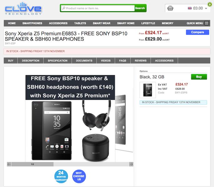 CloveでXperia Z5 Premium E6853が販売開始