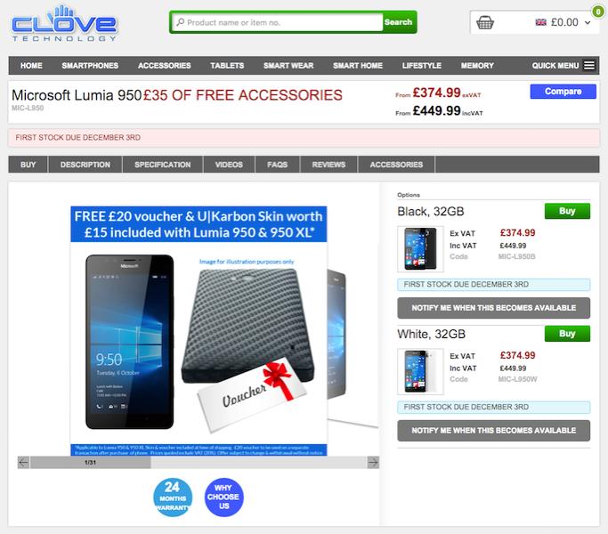 CloveがLumia 950/950 XLに35ポンド分の購入特典を追加
