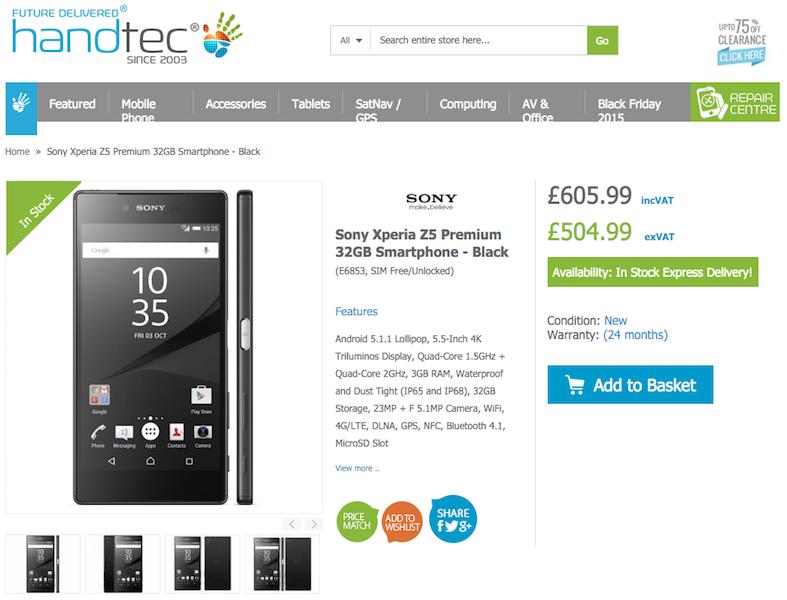 HandtecでXperia Z5 Premiumの販売がスタート