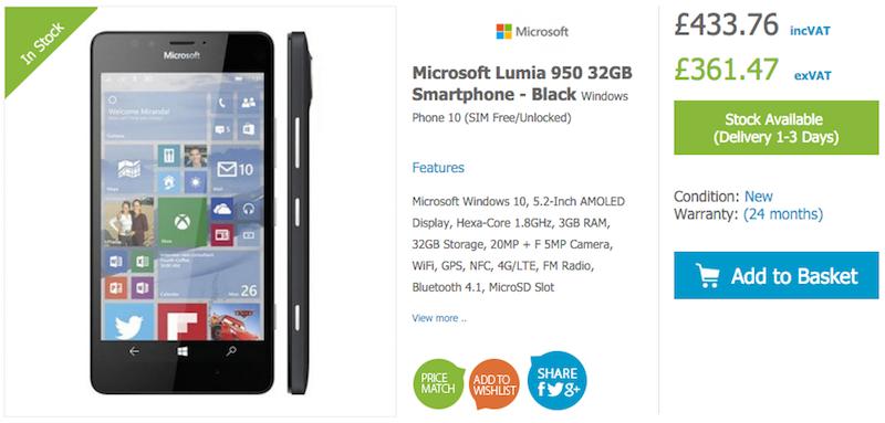 HandtecにLumia 950/950 XLのBlackモデルが入荷