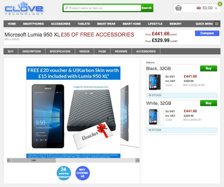 CloveでMicrosoft Lumia 950/950 XLの販売がスタート