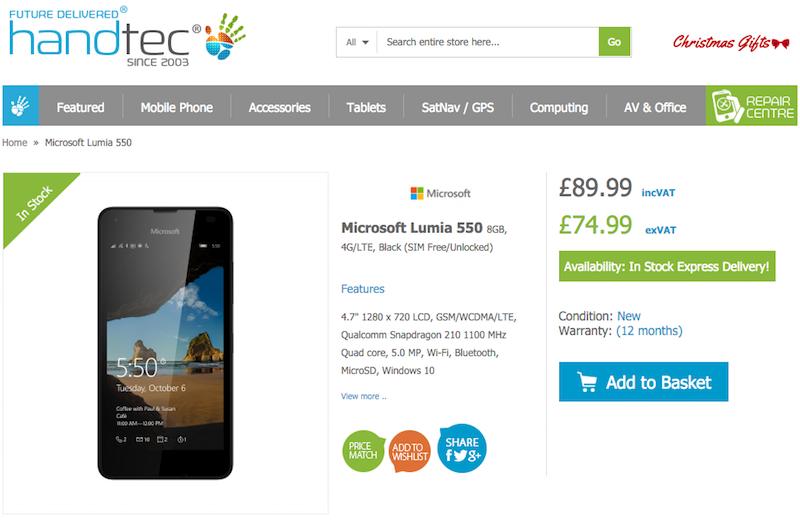 HandtecでMicrosoft Lumia 550の販売がスタート
