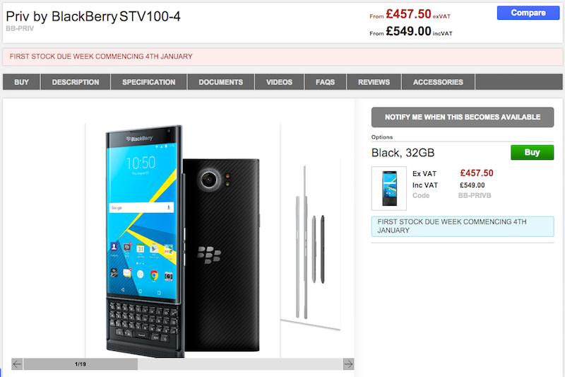 CloveがBlackBerry PRIV STV100-4の購入予約を受付中