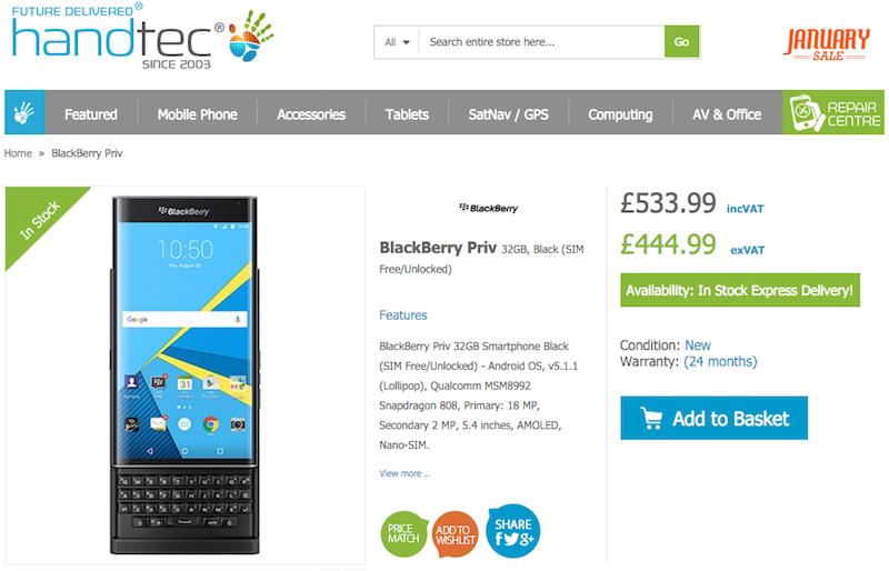 HandtecでBlackBerry PRIV STV100-4の販売がスタート