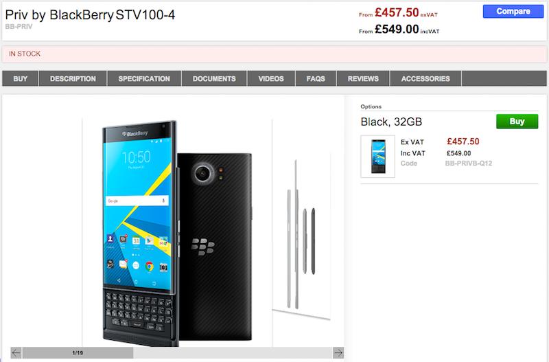 CloveでBlackBerry PRIV STV100-4の販売がスタート