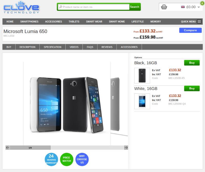 Clove Microsoft Lumia 650